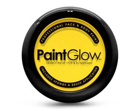 Barva na obličej PAINT GLOW žlutá v pudřence se zrcátkem, houbičkou a štětcem