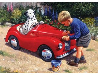 Malování podle čísel- Dalmatin v červeném autě