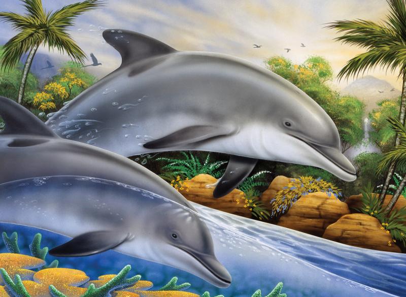 Malování podle čísel- Delfíni - PJL*44