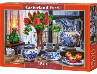 Puzzle 1500 dílků - Zátiší s tulipány