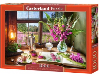 Puzzle Castorland 1000 dílků - Zátiší s hledíky (růžový květinky)