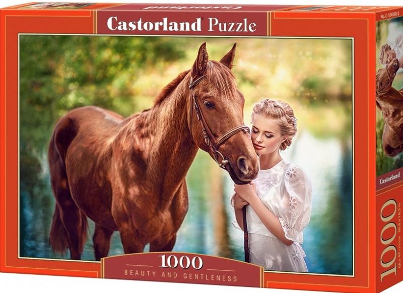 """Puzzle Castorland 1000 dílků - Slečna s koněm """"Krása a jemnost"""""""