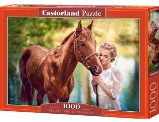 """Puzzle 1000 dílků - Slečna s koněm """"Krása a jemnost"""""""