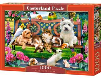 Puzzle 1000 dílků - Mazlíčci v parku