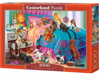 Puzzle 1000 dílků - Zlobivá štěňata na posteli