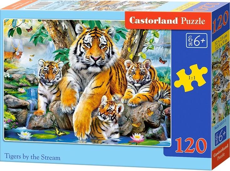 Puzzle Castorland 120 dílků - Tygři u řeky