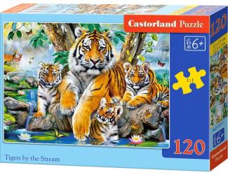 Puzzle 120 dílků - Tygři u řeky