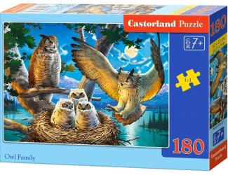 Puzzle 180 dílků - Soví rodinka