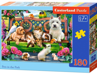 Puzzle 180 dílků - Mazlíčci v parku