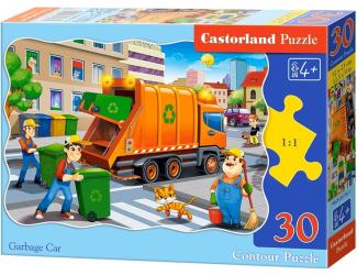Puzzle 30 dílků - Popelářské auto