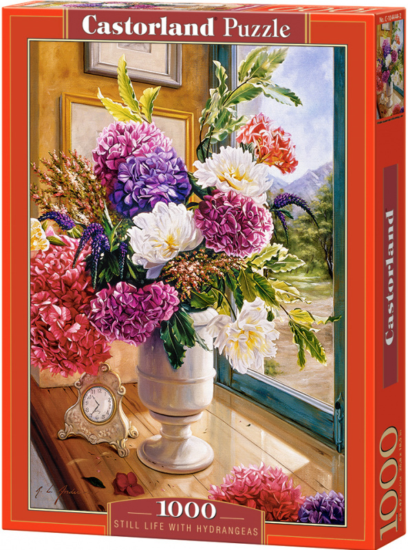 Puzzle Castorland 1000 dílků - Zátiší s kyticí hortenzii