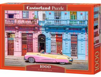 Puzzle Castorland 1000 dílků - Stará Havana - růžový kabriolet