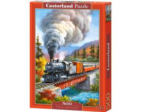 Puzzle Castorland 500 dílků - Vlak přejíždějící řeku (kreslený)