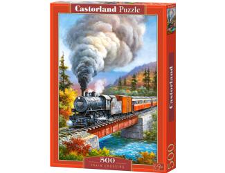 Puzzle 500 dílků - Vlak přejíždějící řeku (kreslený)
