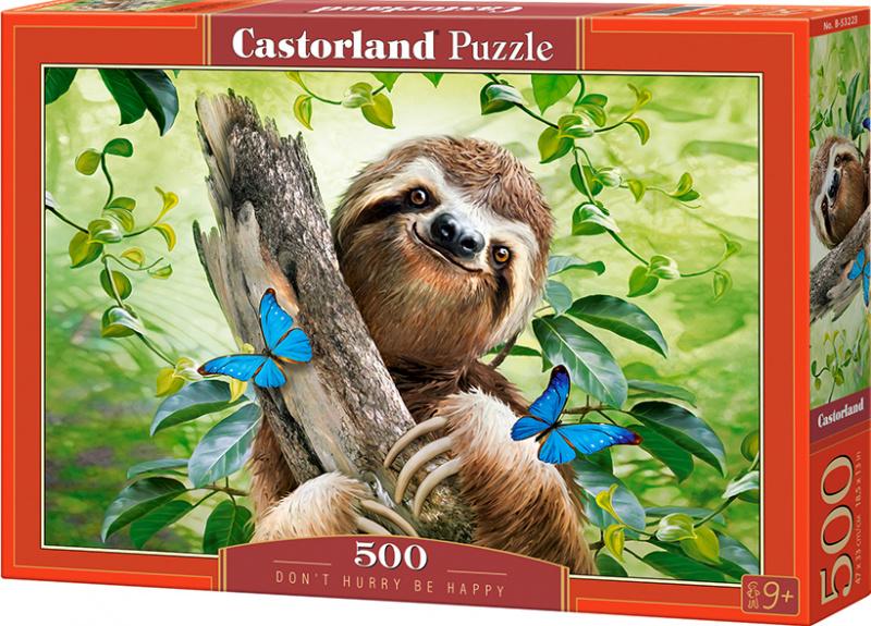 Puzzle Castorland 500 dílků - Nespěchej a buď šťastný (lenochod)
