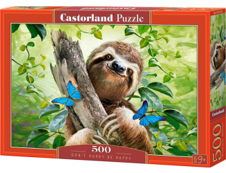 Puzzle 500 dílků - Nespěchej a buď šťastný (lenochod)