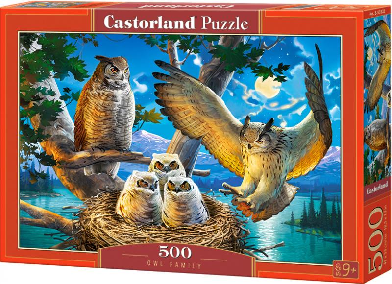 Puzzle Castorland 500 dílků - Soví rodinka