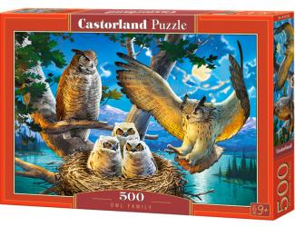 Puzzle 500 dílků - Soví rodinka