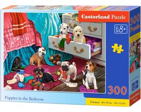 Puzzle 300 dílků - Štěňata v ložnici