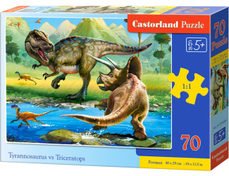 Puzzle 70 dílků premium - T-rex vs. Triceratops
