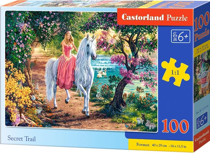 Puzzle Castorland 100 dílků premium - Tajná stezka (princezna s jednorožcem)