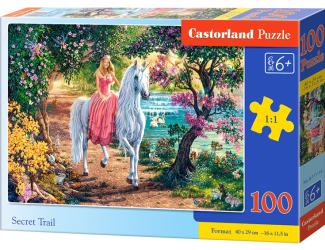 Puzzle 100 dílků premium - Tajná stezka (princezna s jednorožcem)
