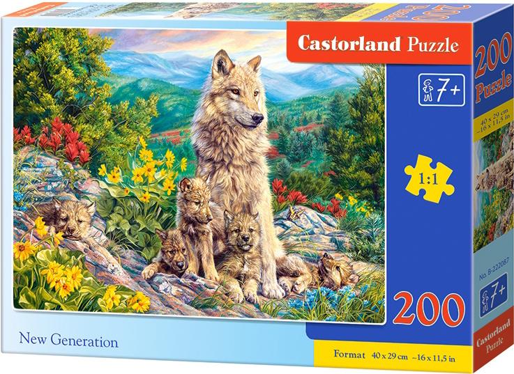 Puzzle Castorland 200 dílků premium - Nová generace vlků
