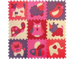 Pěnové puzzle 9 ks 30x30x1cm, zvířata, červenorůžové