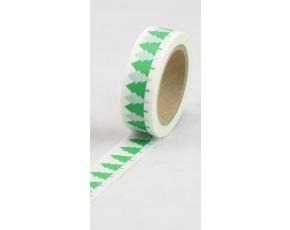 Dekorační lepicí páska - WASHI pásky-1ks zelené stromy