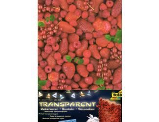 Průhledný papír s potiskem- Maliny, jahody, rybíz - 5 ks