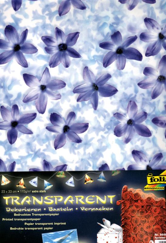 Průhledný papír s potiskem- Modré květiny 5 ks