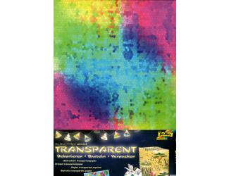 Průhledný papír s potiskem- barevné kostičky 5 ks