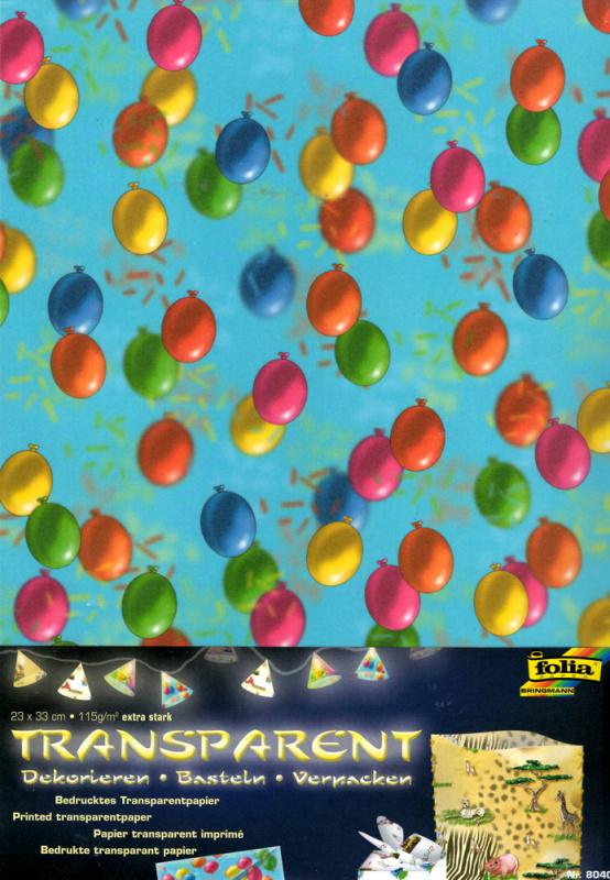 Průhledný papír s potiskem- Balónky - 5 ks