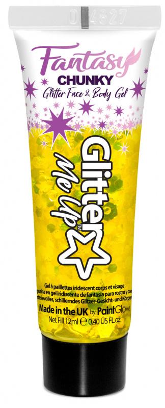 """PaintGlow Glitrový gel """"Fantasy Chunky"""" žlutý (Golden griffin)"""