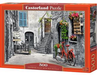 Puzzle 500 dílků - Okouzlující ulička s červeným kolem