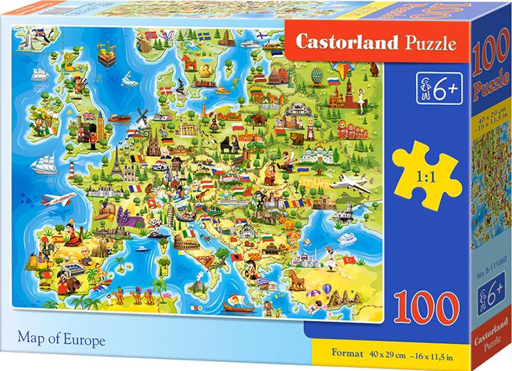 Puzzle Castorland 100 dílků premium - Mapa Evropy
