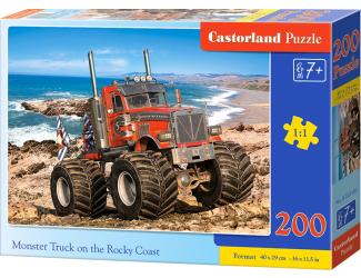 Puzzle 200 dílků premium - Monster Truck na skalnatém útesu