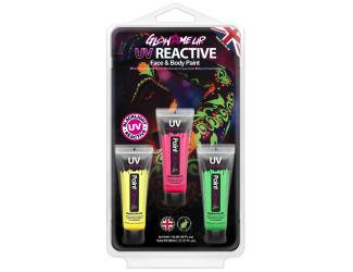 Sada barev Neon UV - zelená, žlutá, růžová 12 ml