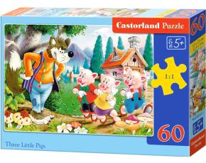Puzzle Castorland 60 dílků - Tři prasátka s vlkem