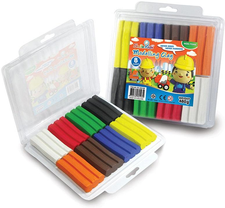Modelína 8 barev, 480 g v boxu