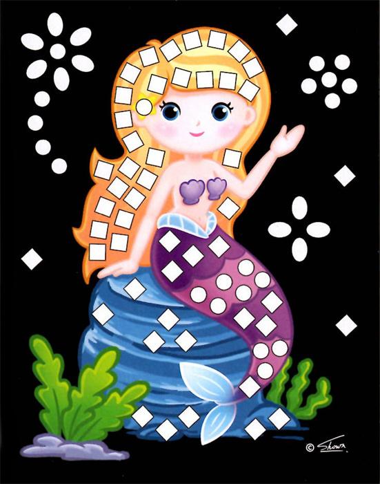 Třpytivý mozaikový obrázek - Mořské víly v boxu 24 ks, cena za jeden kus je 15 Kč.