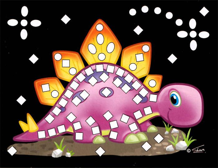 Třpytivý mozaikový obrázek - Dino v boxu 24 ks, cena za jeden kus je 15 Kč.
