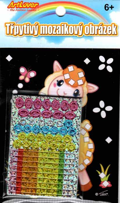 Třpytivý mozaikový obrázek - Lamy v boxu 24 ks, cena za jeden kus je 15 Kč