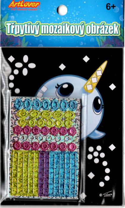 Třpytivý mozaikový obrázek - Narval cena je za jeden kus, v boxu 24 ks.