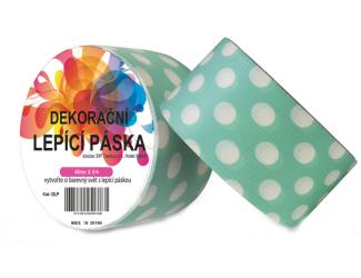 Dekorační lepicí páska - DUCT TAPE-1ks Bílé puntíky v tyrkysové