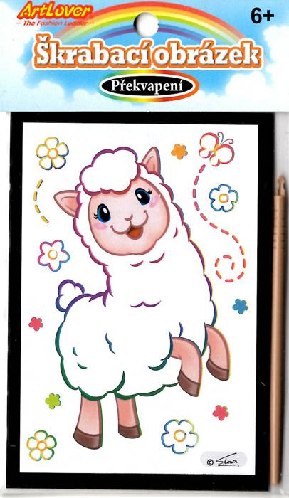 Vyškrabovací obrázek - překvapení - Lama