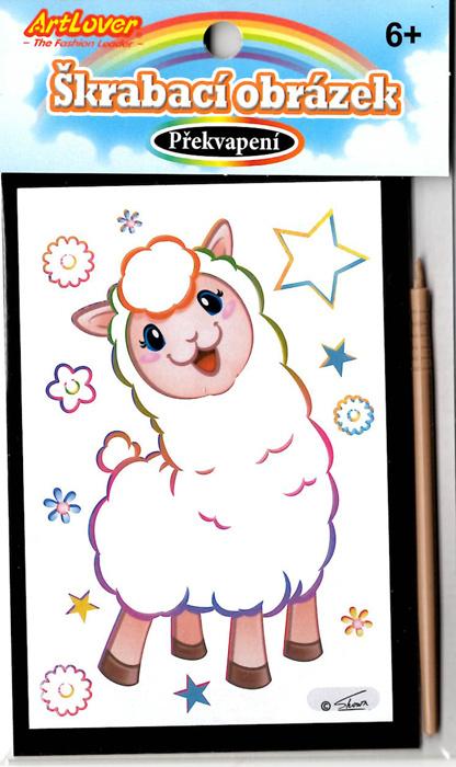 Vyškrabovací obrázky - Lama v boxu 36 ks, cena za 1ks 9 Kč