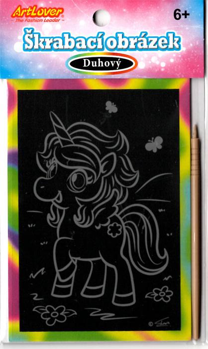 Vyškrabovací obrázky - duhový - Jednorožci v balení 36 ks, cena za kus 15 Kč