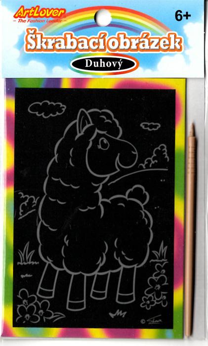 Vyškrabovací obrázky duhové Lamy v balení 36 ks, cena za kus 9 Kč