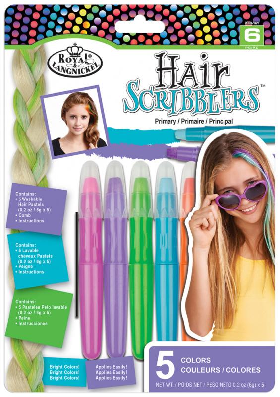 ROYAL and LANGNICKEL Křídové pastely na vlasy, 5 ks, základní odstíny